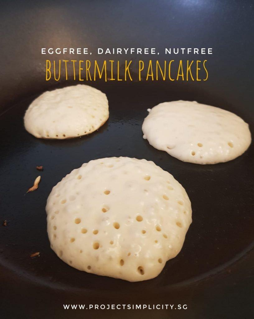 vegan buttermilk creating bubble magic on buttermilk pancakes